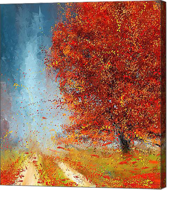 Beauty Of It is a striking Autumn Impressionist Painting of a New England Scene. Vivid and vibrant visual colors of fall foliage are emphasized in this art.
