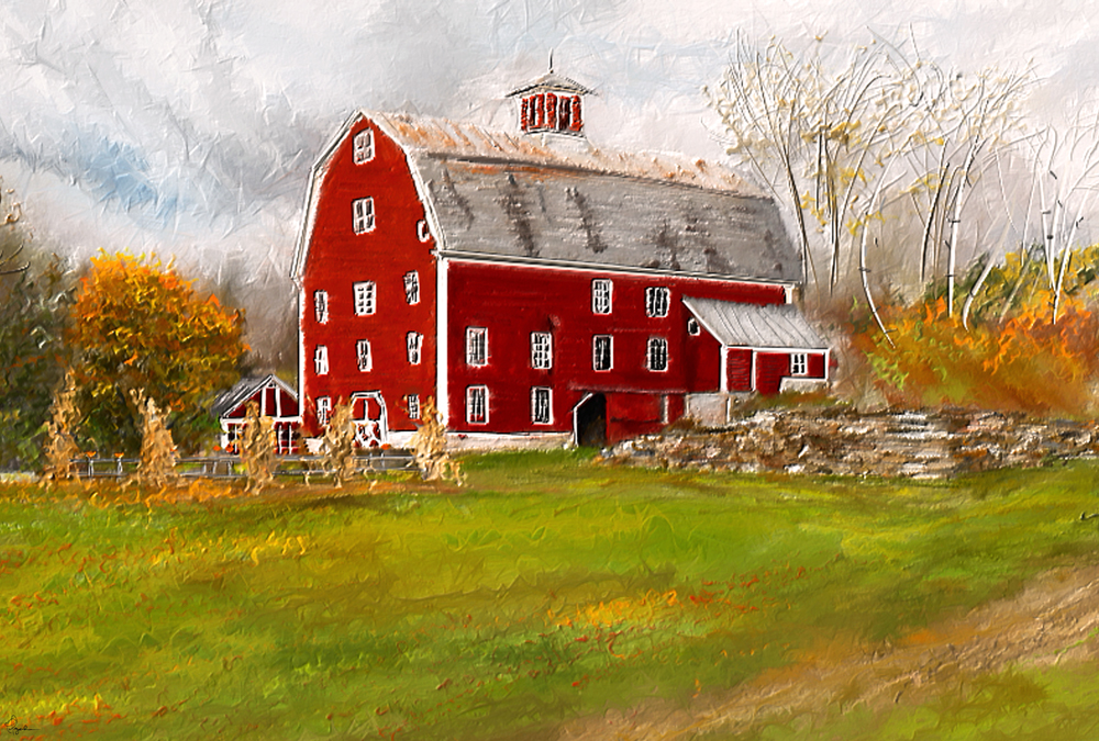 Painting of a Red barn in Woodstock Vermont.  An impressionist red barn painting and country life. A red barn in autumn.