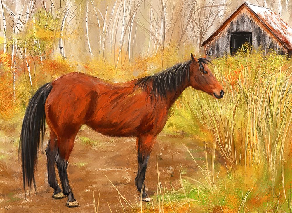 A painting of a brown horse grazing on a pasture in Woodstock, Vermont.